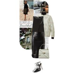 """Check out that black leather pencil skirt $1,310. Protect your leather investment with the WhooHoo-Clean Leather Care. Available at http://www.amazon.com/Leather-Conditioner-Investment-Furniture-Leather/dp/B00EECWG7A. """"Untitled #3092"""" by mrs-box on Polyvore"""