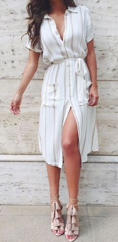 Nice shirt dress with very cool sandals 2018 - LadyStyle