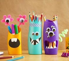Mom and kids can spend some quality time crafting these cute pencil and pen holders, and re-purpose plastic bottles at the same time. They're easy to make and you can design your own monsters and then fill them with pencils and crayons.