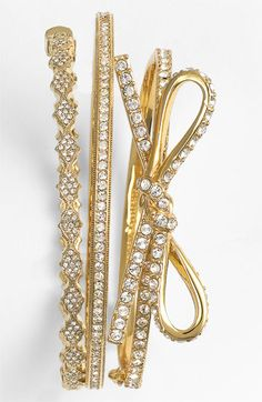 trend to try: stacked bracelets - love the Kate Spade bow bangle!