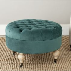 Stylishly decorate your family room by using the Safavieh Mercer Ottomans Ottoman. This ottoman has a modern style, which will add a sleek touch to any home. It features a wooden design and cotton upholstery, matching well with all kinds of furniture Round Tufted Ottoman, Upholstered Stool, Cocktail Ottoman, Cotton Velvet, Cotton Fabric, Classic Elegance, Furniture Deals, Crate Furniture, Furniture Outlet