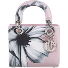 Pre-owned Christian Dior Mini Lady Dior Bag ($2,095) ❤ liked on Polyvore featuring bags, handbags, pink, full grain leather purse, pre owned handbags, floral handbags, pink hand bags and floral purse
