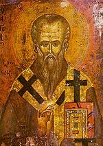 St Clement of Ohrid patron of Ohrid, Bulgarian Empire at his life  (present-day Republic of Macedonia)[1]