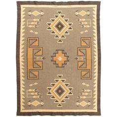 Vintage Navajo Rug, Handmade Wool Oriental Rug, Caramel, Beige, Taupe and Brown For Sale at 1stDibs