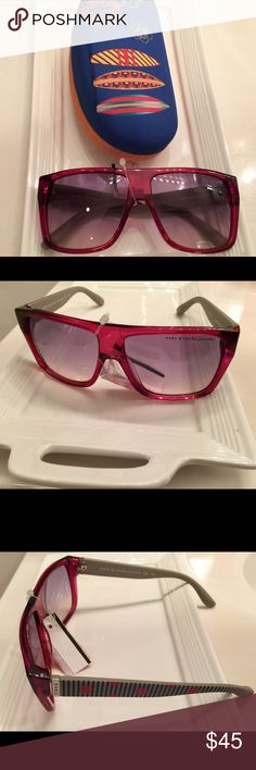 NWT Marc by Marc Jacobs sunglasses; ladies eyewear Marc by Marc Jacobs women's sunglasses; protective eyeglasses. Blue/grey shades with dark pink/red frame and whimsical side rims. Sunglass case is included. Marc by Marc Jacobs Accessories Sunglasses