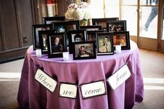 Where we came from table.  Love this idea.  This was a hit at Bre's wedding!  We did wedding photos from both sides of the families going back as far as we could.  Everyone enjoyed looking.