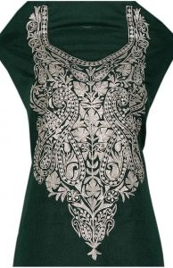 Green color cotton suit  tilla work  Neck embroidery
