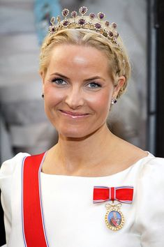 Crown Princess Mette-Marit wearing the Amethyst Necklace tiara.