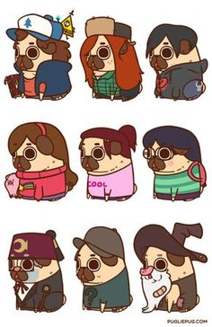 Puglie Gravity Falls Mini Series!Prints available in the Puglie Shop
