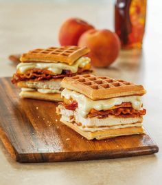 Serve up some inspiration with this Chicken and Waffles Grilled Cheese recipe from Galbani Cheese. Our authentic Italian cheeses will bring the joy of sharing a savory meal with those you love – it's one of life's greatest pleasures. Crepes And Waffles, Savory Waffles, Fluffy Waffles, Waffle Bar, Waffle Sandwich, Waffle Iron, Waffle Recipes, Snack Recipes, Snacks