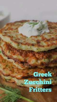 May 2019 - These Greek zucchini fritters are a quick, easy and healthy weeknight dinner option. Made with feta and dill, they're crispy on the outside and tender (but not soggy) on the inside. Vegetable Recipes, Vegetarian Recipes, Healthy Recipes, Vegetarian Kids, Vegetarian Sandwiches, Vegetarian Breakfast, Vegetarian Dinners, Healthy Cooking, Cooking Recipes