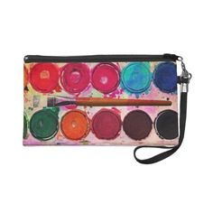 Fine Art Paint Color Box & Funny Artist Brush Wristlet Clutches ($53) ❤ liked on Polyvore featuring bags, handbags, clutches, wristlet handbags, wristlet clutches and wristlet purse