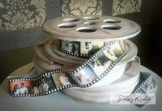 Edible Art. Engagement Portrait Film Reel Cake.