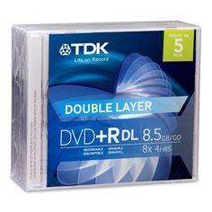 TDK DVD+R DL x 5 - 8.5 GB - storage media by Imation. $19.84. TDK - 5 x DVD+R DL - 8.5 GB 2.4x - jewel case - storage media
