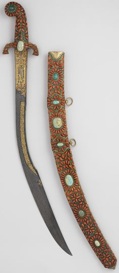 Ottoman kilij, 18th century, damascus steel blade, wood, turquoise, coral, emerald, gold Dimensions: L. 35 1/2 in. (90.2 cm), Met Museum.
