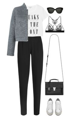 """Sans titre #937"" by romane-inspiration ❤ liked on Polyvore featuring Outsider, Monki, Alexander Wang, Acne Studios, Yves Saint Laurent, Linda Farrow and Fleur of England"