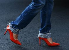PARIS FASHION WEEK PFW Street Style Tomato Red DISTRESSED DENIM JEANS CUFFED RED SUEDE PUMPS HEELS