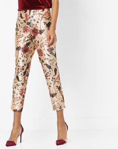 Buy Melange By Lifestyle Women Beige Floral Print Ankle-Length Pants | AJIO