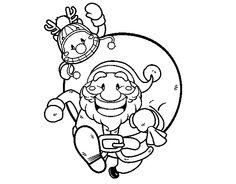 Dibujo de Papá Noel y Rudolph para colorear