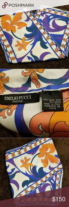 """💖Emilio Pucci💖Women's Scarf🎀NEW WITHOUT TAGS!!! Emilio Pucci. Women's Silk Scarf. NEW WITHOUT TAGS!!! AUTHENTIC. 12"""" W x 71""""L. Blue, Purple, Orange, White. Made in Italy. Emilio Pucci Accessories Scarves & Wraps"""