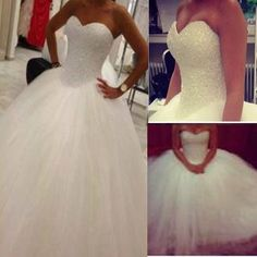 Cute Sweetheart A-line Strapless Beaded Tulle Ball Gown Wedding Party Dresses, WD0185 Craig, I want it