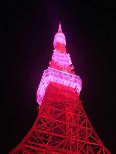 Tokyo Tower in pink - pink ribbon event
