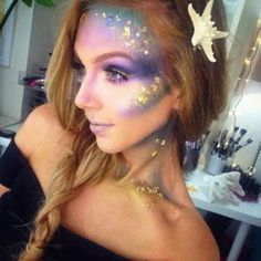 Gorgeous Mermaid Halloween Makeup. 10 gorgeous halloween makeup looks! Cheetah makeup, spider girl makeup, deer makeup, doe makeup, fawn makeup, fairy makeup, pop art makeup, fairy makeup, unicorn makeup, mermaid makeup, sugar skull makeup. Love this site with all of the gorgeous inspiration.