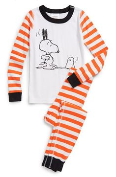 Hanna Andersson 'Peanuts® - Scaring Snoopy' Organic Cotton Two-Piece Fitted Pajamas (Toddler Boys, Little Boys & Big Boys) available at #Nordstrom