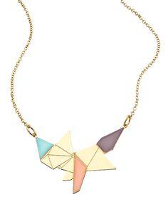 Gold Origami Fox Necklace by: Shlomit Ofir Jewelry