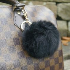 """1 left!!!! Real Rabbit Fur Keychain 8cm Real Rabbit Fur Keychain For Your Handbag. Large 8cm/ 3"""" (L) X 3"""" (W). Bundle And Save! Comes To You In A Pretty Black Velvet Pouch. Fast Shipping! Bags Satchels"""
