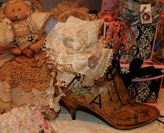 decoupage old boots with vintage patterns