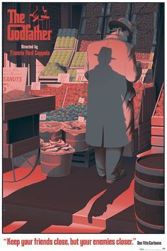 Godfather The Godfather - movie poster - Laurent Dureiux << those oranges!The Godfather - movie poster - Laurent Dureiux << those oranges! Best Movie Posters, Cinema Posters, Movie Poster Art, Cool Posters, Film Posters, Poster Wall, The Godfather Poster, Godfather Movie, Laurent Durieux