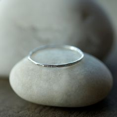 Sterling Silver Stack Ring Hammered Band Slim by ShopClementine, $19.95
