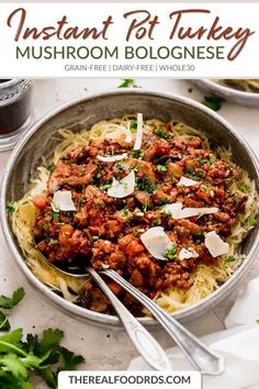 Rich, hearty, satisfying and healthy, this Instant Pot Turkey Mushroom Bolognese goes from ingredients to the table in just 35 minutes. Best Dinner Recipes, Real Food Recipes, Grain Free, Dairy Free, Food Dishes, Main Dishes, Instant Pot, Mushroom Bolognese, Pots