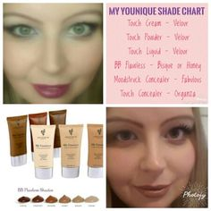 My Younique Shade Chart - thought this would help with colour (color) matching. In the Touch Cream and Powder Foundation I use Velour. In the Touch Liquid Foundation I have also been using Velour. BB Flawless I use Bisque in Winter and Honey in summer. in the Moodstruck Mineral powder concealer I use Fabulous and the Touch Concealer I use Organza. In the top left picture I have Touch Liquid and Touch Concealer. In the bottom right I have BB cream and Touch Powder.
