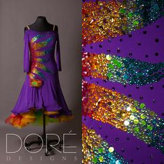 Purple Rhythm w/ Rainbow Sequin Design & Multi Colored Horsehair Skirt Latin Ballroom Dresses, Ballroom Dancing, Tap Costumes, Special Dresses, Skating Dresses, Embellished Dress, Stunning Dresses, Dance Outfits, Dance Wear