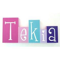 Freestanding Custom Wooden Word Block for kids All-in-One - GIRLS