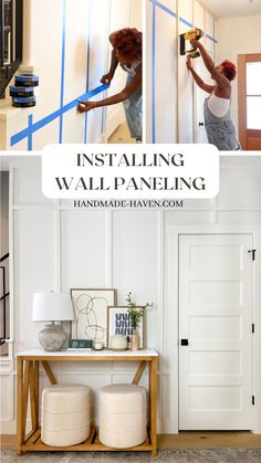 Check out how to add wood wall paneling to your home to update your entryway space. Diy Projects Using Wood, Home Projects, Hallway Decorating, Decorating Tips, Wood Wall Design, Entry Way Design, Decorative Wall Panels, Diy Home Repair, Wall Molding