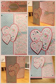 Flowery hearts card