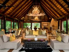 Lion Sands River Lodge Sabi Sand Game Reserve, South Africa Country Elegant Lounge Luxury Scenic views property living room Resort home mansion Villa African House, African Interior, Thatched House, River Lodge, Style Deco, Lodge Style, Lodge Decor, Game Lodge, Game Reserve