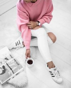 """See? I do wear colour: the pale pink + white formula is officially back on my…"