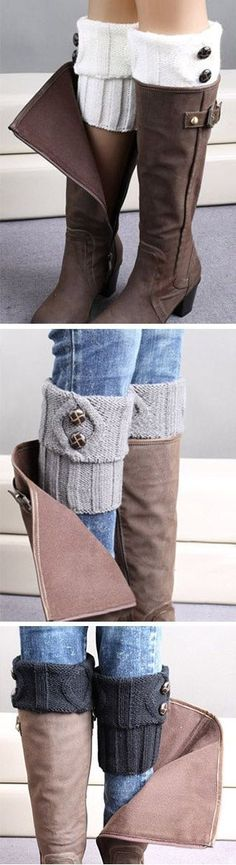 Boot socks: We're just here to make you envy by others. Envy Me Boot Cuffs features twist pattern with buttons. See the full collection at CUPSHE. Knitted Boot Cuffs, Crochet Boots, Knit Boots, Crochet Slippers, Knit Crochet, Knitting Socks, Knitting Patterns, Crochet Patterns, Hat Patterns