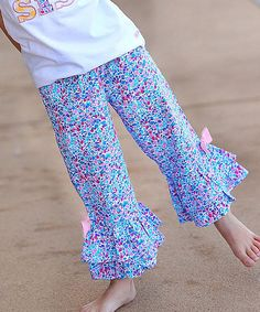 Loving this Purple Flutter Ruffle Capri Pants - Infant, Toddler & Girls on #zulily! #zulilyfinds