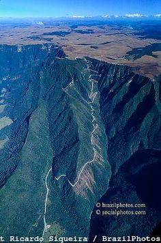 Serra do Rio do Rastro and State Highway SC-438, linking the coastal plain and the Lages plateau, Santa Catarina, Brazil ~ mountains are typical volcanic, basaltic rock in average 850 meters (2800 ft) layers. The highway was finished in 1984.