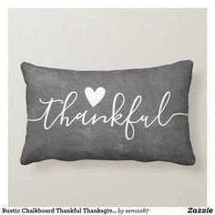 Rustic Chalkboard Thankful Thanksgiving Farmhouse Lumbar Pillow Fall Home Decor, Autumn Home, Lumbar Pillow, Bed Pillows, Reflection Art, Typography Prints, Designer Throw Pillows, Party Hats, Decorative Accessories