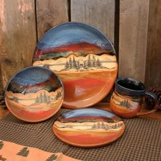 Southwest Decor, Southwestern Style, Southwestern Dinnerware, Dining Centerpiece, Ceramic Dinner Set, Desert Mountains, Wheel Throwing, Cute House, Ranch Life