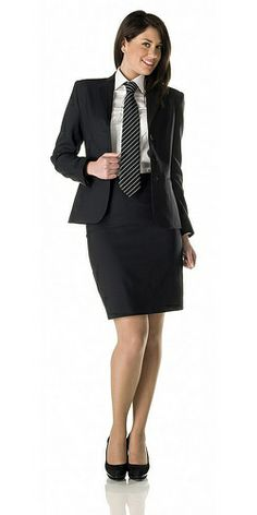 Tight Skirts Page: Uniform Tight Skirts 3 Women Wearing Ties, Suits For Women, Clothes For Women, Look Office, Business Outfits, Business Attire, Business Professional Attire, Blouse And Skirt, Satin Blouses
