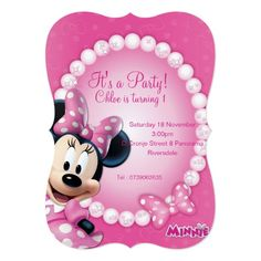 Shop Minnie Pink and White Birthday Invitation created by MickeyAndFriends. White Envelopes, Birthday Invitations, Rsvp, Party, Pink, How To Make, Free, Parties, Pink Hair