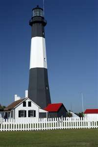 Tybee Lighthouse, Savanah, Georgia completed 1736 later destroyed by storm, burned during civil war, damaged by earthquake in l866. rebuilt l886 --saw--