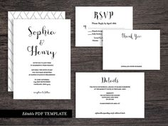 Calligraphy  Wedding Invitation Suite Template | PDF Editable Template | Editable Text | Wedding Invite Template | Instant Download